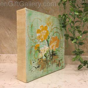 تابلو نقاشی گلهای طلایی