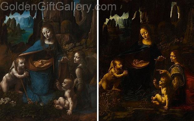تصویر سمت راست، تابلو نخست که در موزهی لوور نگهداری میشود. تصویر سمت چپ، تابلو بازنگریشده که در موزهی لندن نگهداری میشود