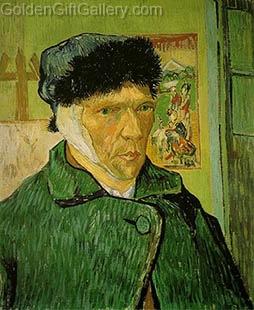 پرتره ون گوگ پس از بریدن گوش چپ خود 1889 (ون گوگ این نقاشی را از روی آینه به تصویر کشیده است)