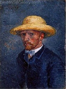 چهره تئو ون گوگ، ۱۸۸۷. پیش از این تصور میشد این یک خودنگاره از ونسان باشد ولی تحقیقاتی در سال ۲۰۱۱ نشان دادهاست که این چهره تئو است.